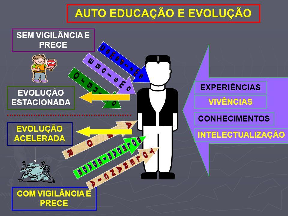 EXPERIÊNCIAS VIVÊNCIAS CONHECIMENTOS INTELECTUALIZAÇÃO AUTO EDUCAÇÃO E EVOLUÇÃO SEM VIGILÂNCIA E PRECE EVOLUÇÃO ESTACIONADA COM VIGILÂNCIA E PRECE EVO