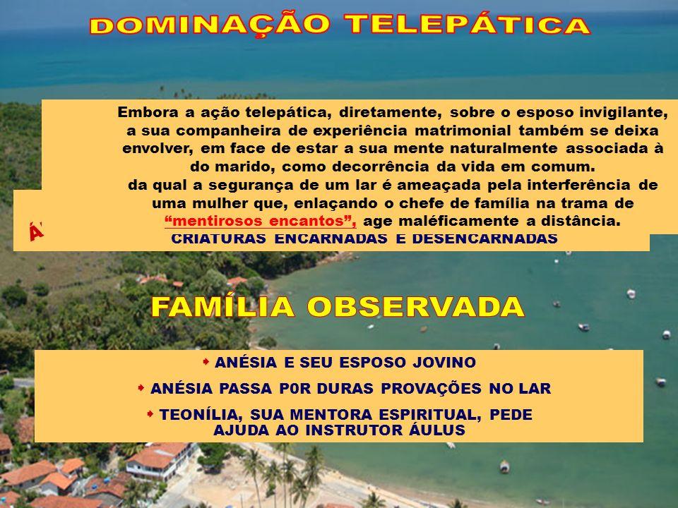 DIA E NOITE VIVIA SOB A FASCINAÇÃO DE OUTRA MULHER ESQUECERA-SE DAS OBRIGAÇÕES DO LAR DESINTERESSADO DA ESPOSA E FILHAS DEIXAVA-SE DOMINAR PELOS PENSAMENTOS DA NOVA MULHER (DOMINAÇÃO TELEPÁTICA) JOVINO NUNCA PARTICIPAVA RECUSAVA OS CONVITES DE ANÉSIA ALEGANDO NÃO DISPOR DE TEMPO A Obsessão entre desencarnados ou encarnados, sob qualquer prisma em que se mostre, é uma enfermidade mental.