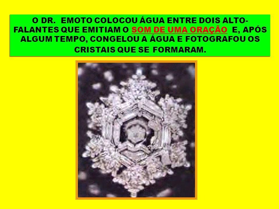 O DR. EMOTO COLOCOU ÁGUA ENTRE DOIS ALTO- FALANTES QUE EMITIAM O SOM DE UMA ORAÇÃO E, APÓS ALGUM TEMPO, CONGELOU A ÁGUA E FOTOGRAFOU OS CRISTAIS QUE S