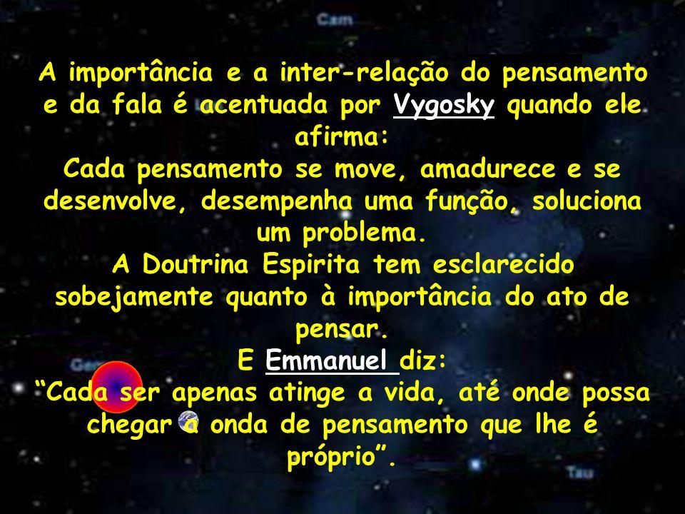 A importância e a inter-relação do pensamento e da fala é acentuada por Vygosky quando ele afirma: Cada pensamento se move, amadurece e se desenvolve,