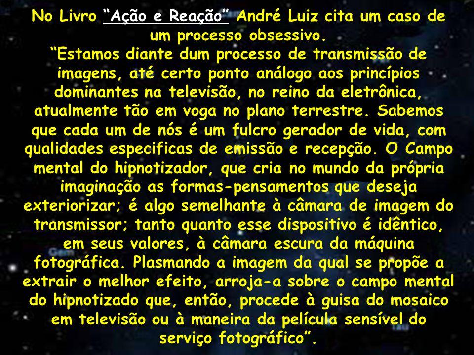 No Livro Ação e Reação André Luiz cita um caso de um processo obsessivo. Estamos diante dum processo de transmissão de imagens, até certo ponto análog