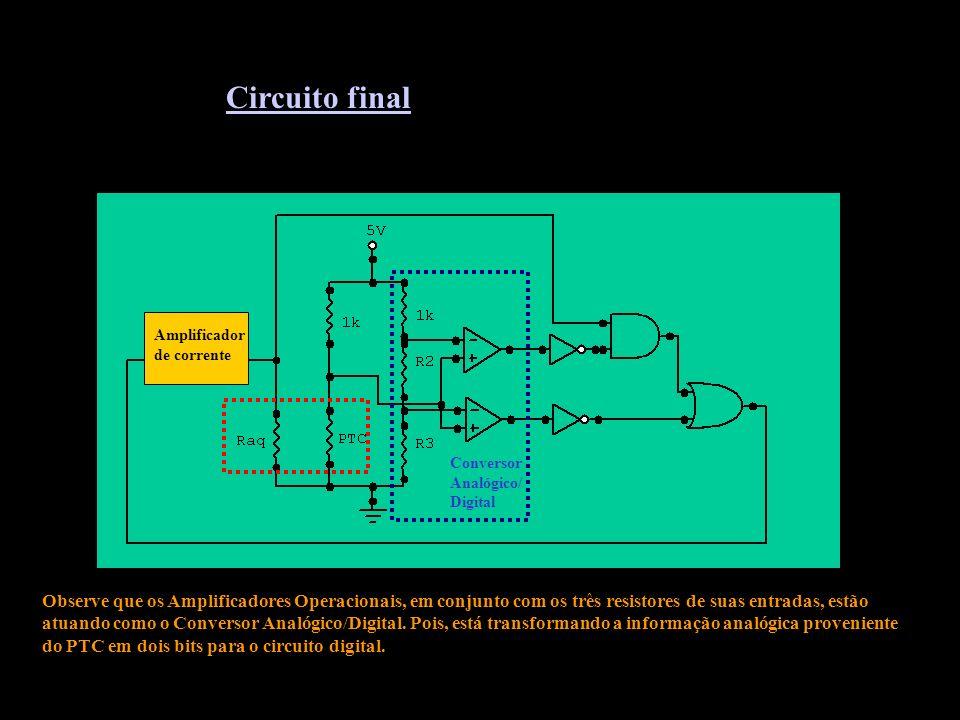 Amplificador de corrente Conversor Analógico/ Digital Observe que os Amplificadores Operacionais, em conjunto com os três resistores de suas entradas, estão atuando como o Conversor Analógico/Digital.
