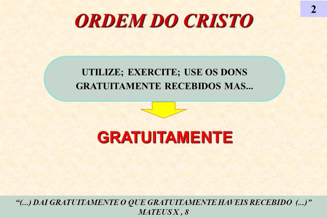 ORDEM DO CRISTO UTILIZE; EXERCITE; USE OS DONS GRATUITAMENTE RECEBIDOS MAS... 2 (...) DAI GRATUITAMENTE O QUE GRATUITAMENTE HAVEIS RECEBIDO (...) MATE