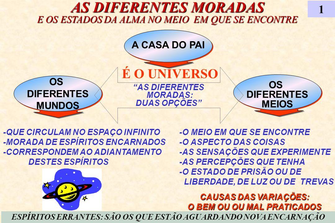 DIFERENTES CATEGORIAS DE MUNDOS HABITADOS 2 NOS MUNDOS MAIS ADIANTADOS A VIDA É TODA ESPIRITUAL NOS MUNDOS INTERMEDIÁRIOS MISTURAM-SE O BEM E O MAL PREDOMINANDO UM OU OUTRO, DE ACORDO COM A MAIORIA DOS QUE O HABITAM NOS MUNDOS INFERIORES A EXISTÊNCIA É TODA MATERIAL MUNDOS SUPERIORES MUNDOS INFERIORES IGUAIS À TERRA DO ENSINO DADO PELOS ESPÍRITOS, RESULTA QUE MUITO DIFERENTES UMAS DAS OUTRAS SÃO AS CONDIÇÕES DOS MUNDOS...