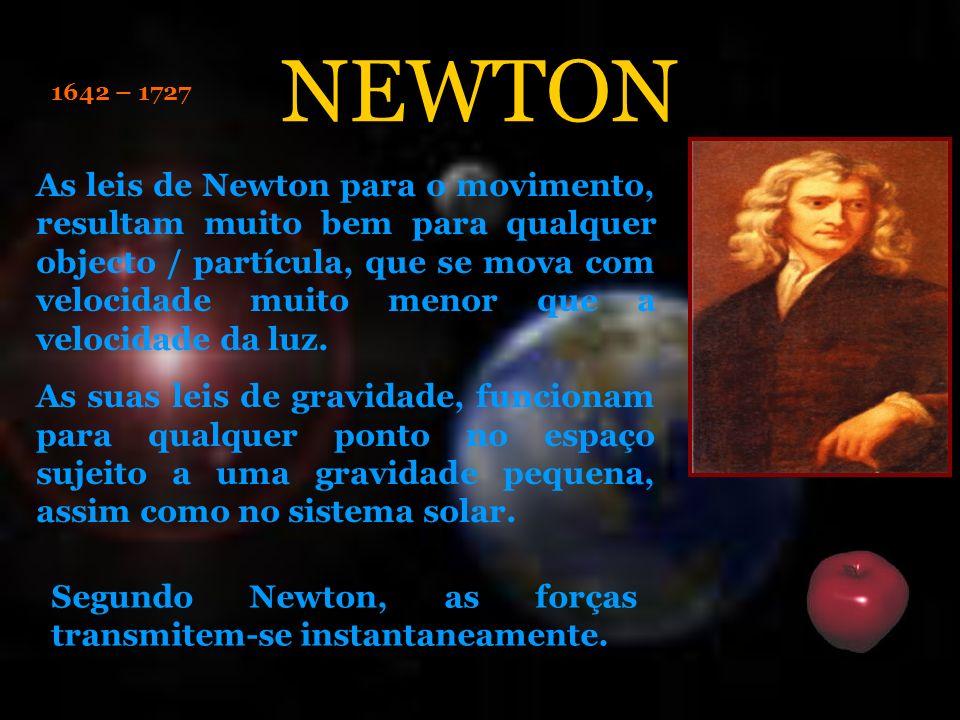 1642 – 1727 As leis de Newton para o movimento, resultam muito bem para qualquer objecto / partícula, que se mova com velocidade muito menor que a vel