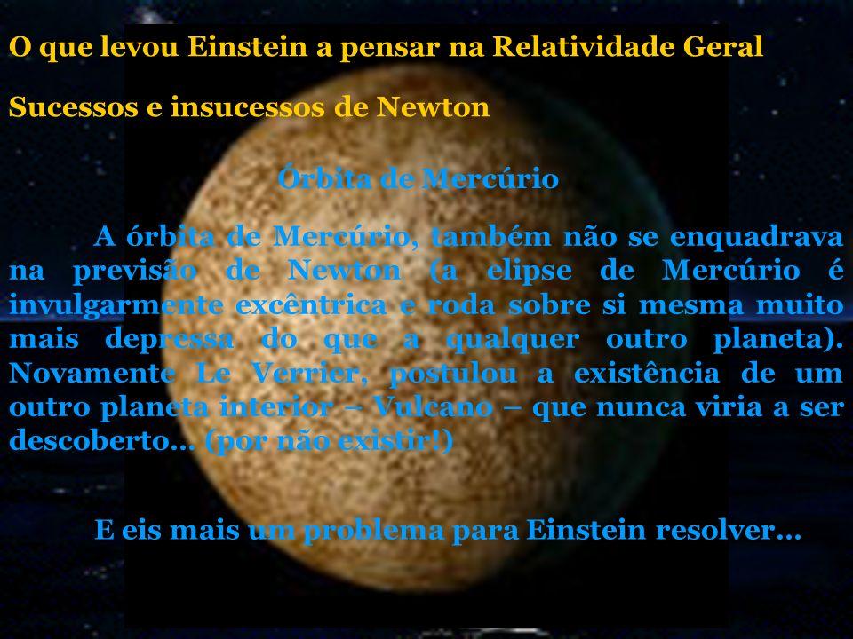 A órbita de Mercúrio, também não se enquadrava na previsão de Newton (a elipse de Mercúrio é invulgarmente excêntrica e roda sobre si mesma muito mais