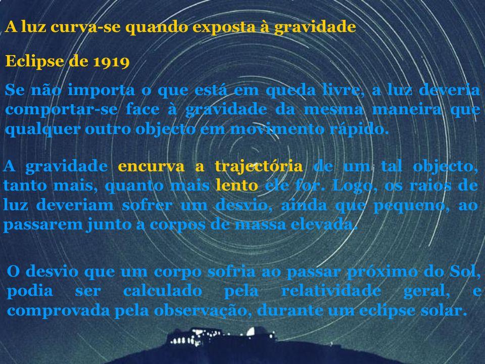 A luz curva-se quando exposta à gravidade Se não importa o que está em queda livre, a luz deveria comportar-se face à gravidade da mesma maneira que q