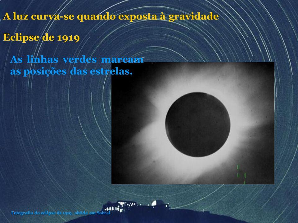 As linhas verdes marcam as posições das estrelas. Fotografia do eclipse de 1919, obtida em Sobral A luz curva-se quando exposta à gravidade Eclipse de