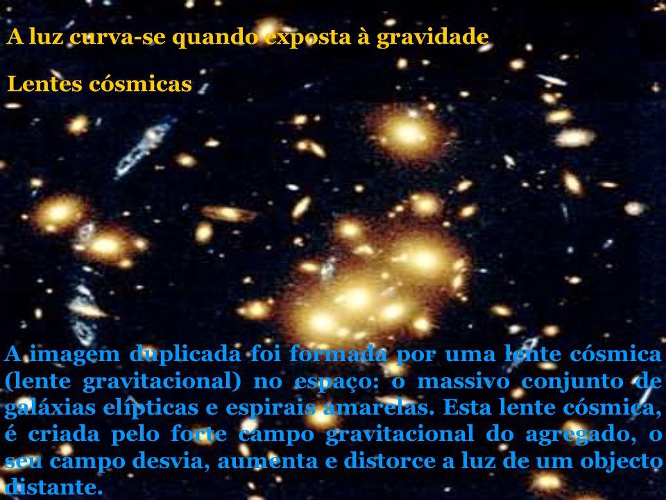 A imagem duplicada foi formada por uma lente cósmica (lente gravitacional) no espaço: o massivo conjunto de galáxias elípticas e espirais amarelas. Es
