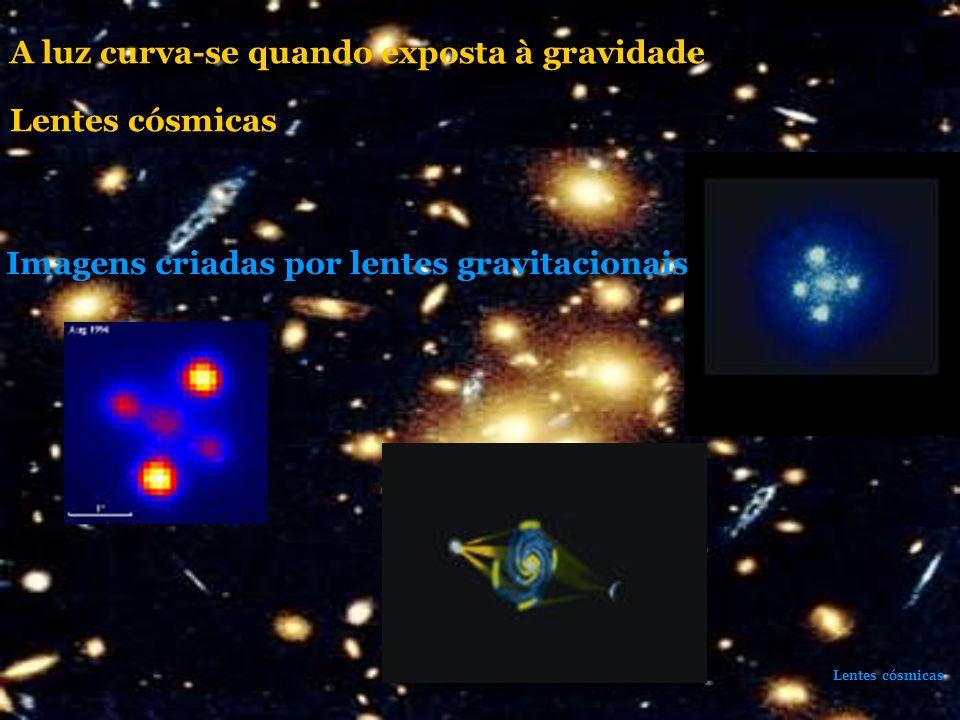 Lentes cósmicas Imagens criadas por lentes gravitacionais A luz curva-se quando exposta à gravidade Lentes cósmicas