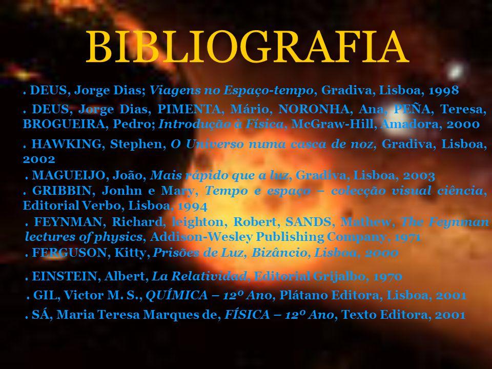 BIBLIOGRAFIA. DEUS, Jorge Dias; Viagens no Espaço-tempo, Gradiva, Lisboa, 1998. DEUS, Jorge Dias, PIMENTA, Mário, NORONHA, Ana, PEÑA, Teresa, BROGUEIR