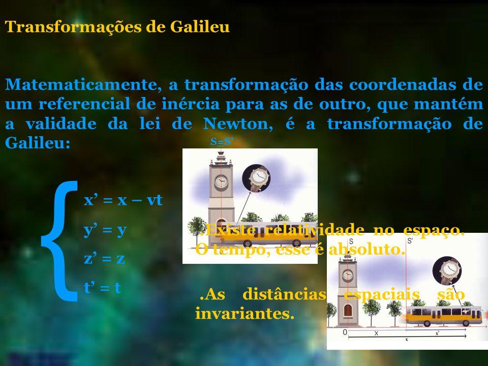 Transformações de Galileu Matematicamente, a transformação das coordenadas de um referencial de inércia para as de outro, que mantém a validade da lei