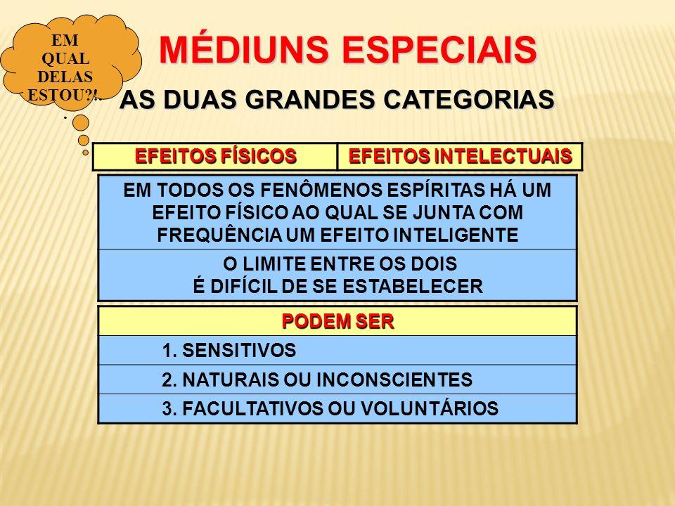 EFEITOS FÍSICOS MÉDIUNS ESPECIAIS AS DUAS GRANDES CATEGORIAS MÉDIUNS ESPECIAIS AS DUAS GRANDES CATEGORIAS EFEITOS INTELECTUAIS PODEM SER 1. SENSITIVOS