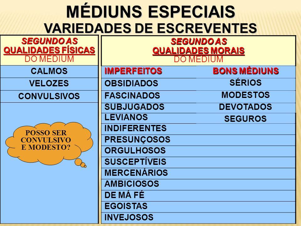 SEGUNDO AS QUALIDADES FÍSICAS SEGUNDO AS QUALIDADES FÍSICAS DO MÉDIUM CALMOS VELOZES CONVULSIVOS MÉDIUNS ESPECIAIS VARIEDADES DE ESCREVENTES SEGUNDO A