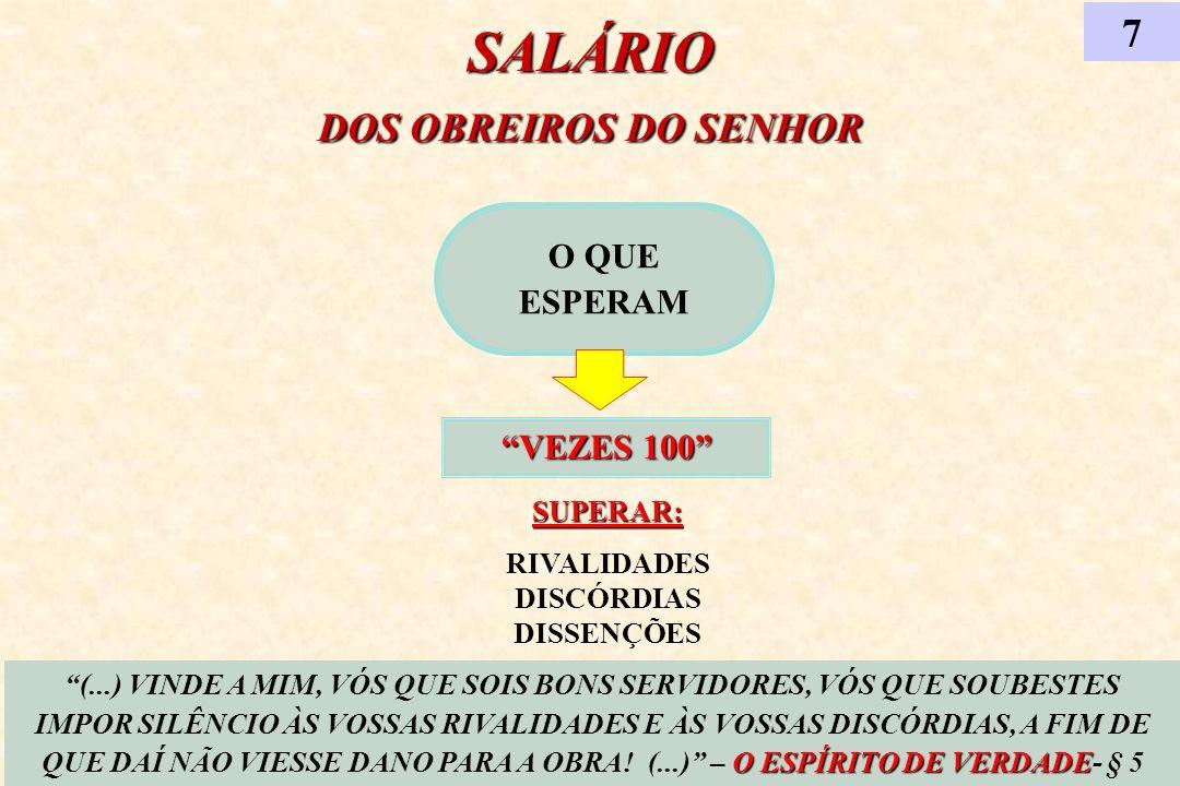 SALÁRIO DOS OBREIROS DO SENHOR O QUE ESPERAM VEZES 100 7 O ESPÍRITO DE VERDADE (...) VINDE A MIM, VÓS QUE SOIS BONS SERVIDORES, VÓS QUE SOUBESTES IMPO