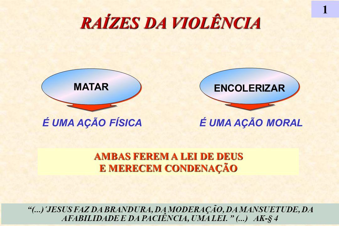 ENCOLERIZAR É UMA AÇÃO FÍSICA MATAR RAÍZES DA VIOLÊNCIA 1 É UMA AÇÃO MORAL (...)´JESUS FAZ DA BRANDURA, DA MODERAÇÃO, DA MANSUETUDE, DA AFABILIDADE E