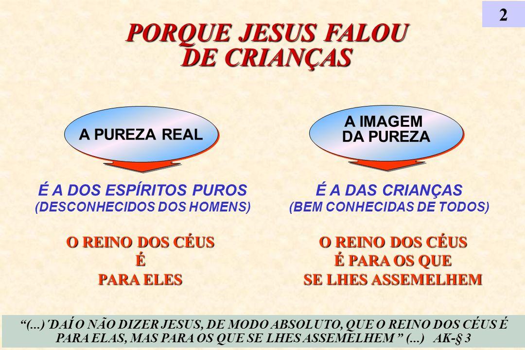 A IMAGEM DA PUREZA A IMAGEM DA PUREZA É A DOS ESPÍRITOS PUROS (DESCONHECIDOS DOS HOMENS) A PUREZA REAL PORQUE JESUS FALOU DE CRIANÇAS 2 É A DAS CRIANÇ