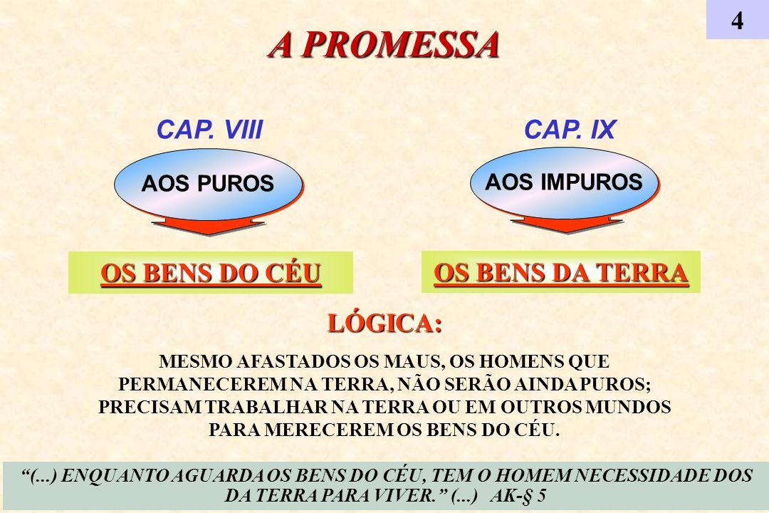 AOS IMPUROS CAP. VIII AOS PUROS A PROMESSA 4 CAP. IX (...) ENQUANTO AGUARDA OS BENS DO CÉU, TEM O HOMEM NECESSIDADE DOS DA TERRA PARA VIVER. (...) AK-