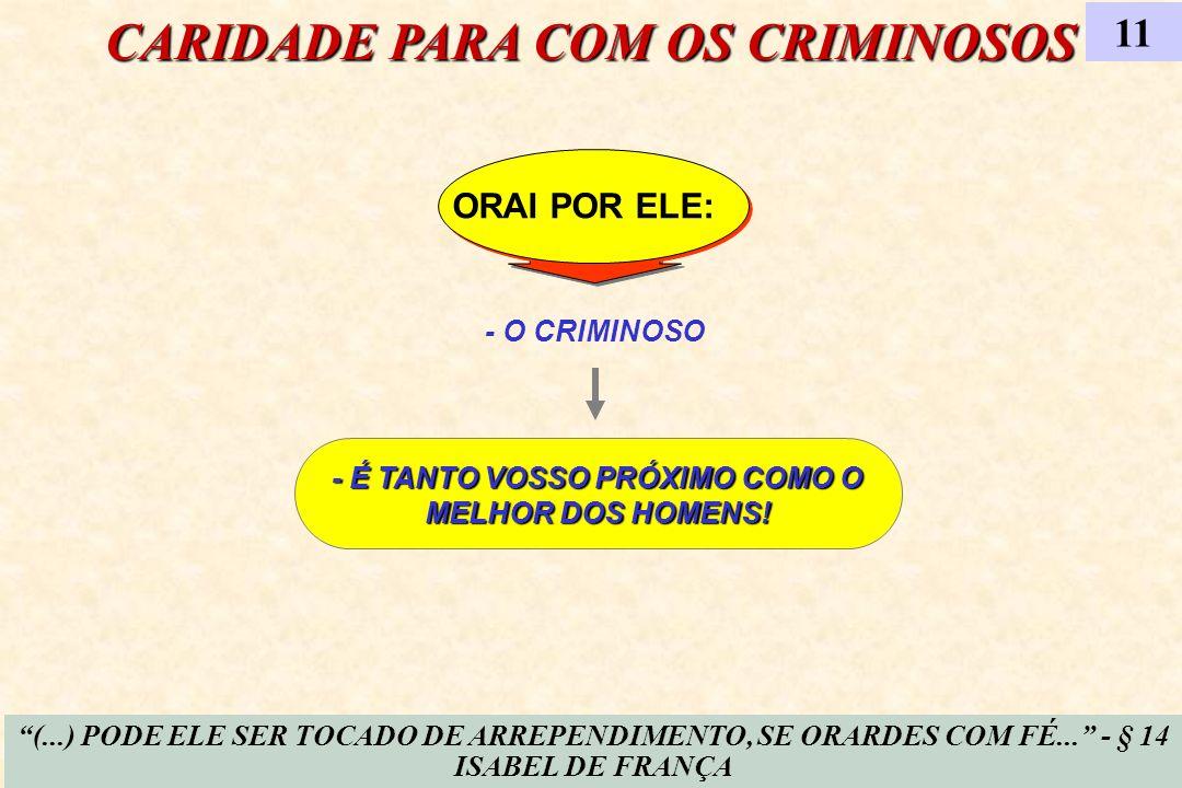 ORAI POR ELE: CARIDADE PARA COM OS CRIMINOSOS 11 - O CRIMINOSO (...) PODE ELE SER TOCADO DE ARREPENDIMENTO, SE ORARDES COM FÉ... - § 14 ISABEL DE FRAN
