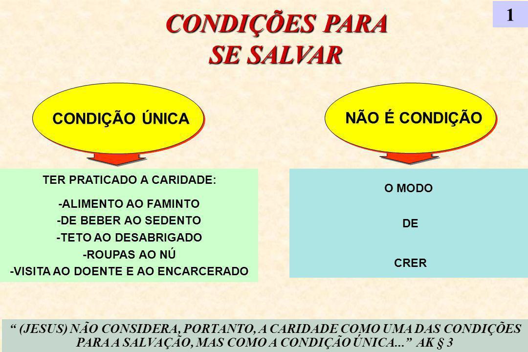 CONDIÇÕES PARA SE SALVAR 1 CONDIÇÃO ÚNICA NÃO É CONDIÇÃO (JESUS) NÃO CONSIDERA, PORTANTO, A CARIDADE COMO UMA DAS CONDIÇÕES PARA A SALVAÇÃO, MAS COMO