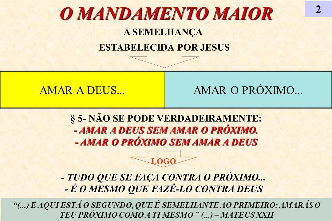 O MANDAMENTO MAIOR 2 (...) E AQUI ESTÁ O SEGUNDO, QUE É SEMELHANTE AO PRIMEIRO: AMARÁS O TEU PRÓXIMO COMO A TI MESMO (...) – MATEUS XXII AMAR A DEUS..
