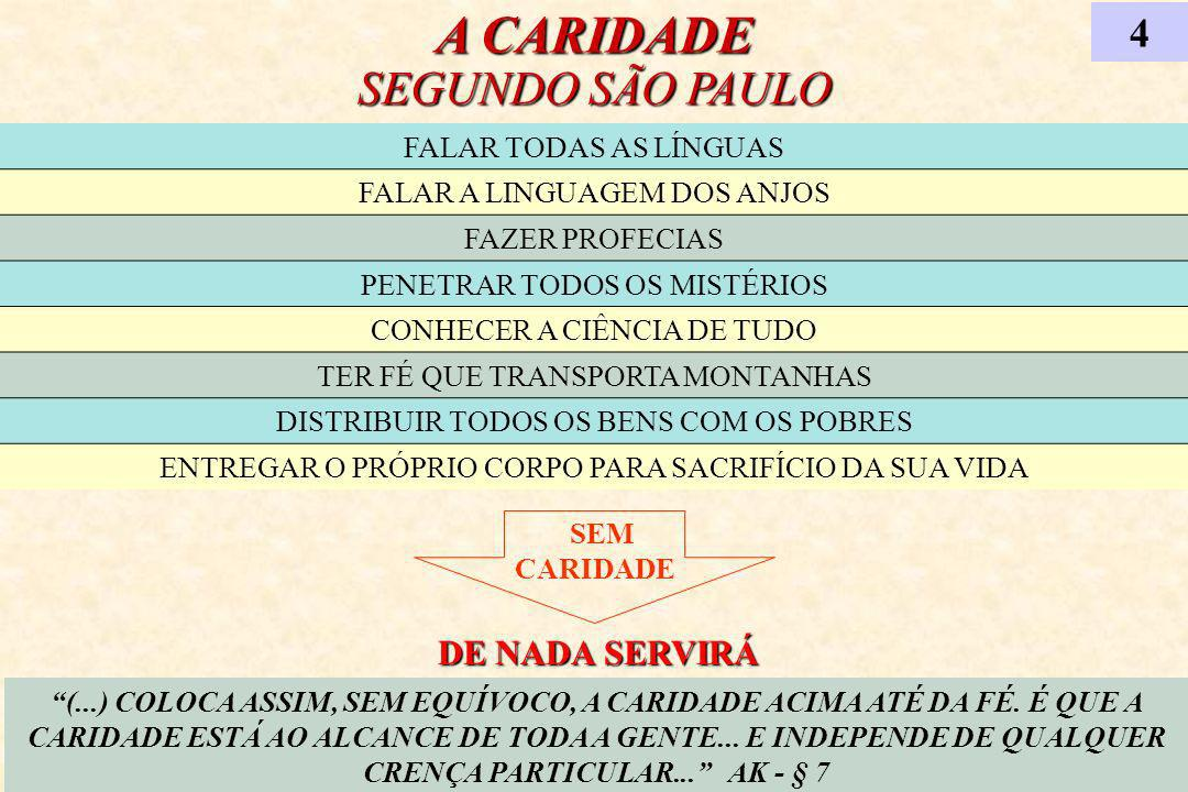 A CARIDADE SEGUNDO SÃO PAULO 4 (...) COLOCA ASSIM, SEM EQUÍVOCO, A CARIDADE ACIMA ATÉ DA FÉ. É QUE A CARIDADE ESTÁ AO ALCANCE DE TODA A GENTE... E IND