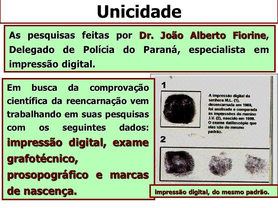 As pesquisas feitas por Dr. João Alberto Fiorine, Delegado de Polícia do Paraná, especialista em impressão digital. Em busca da comprovação científica