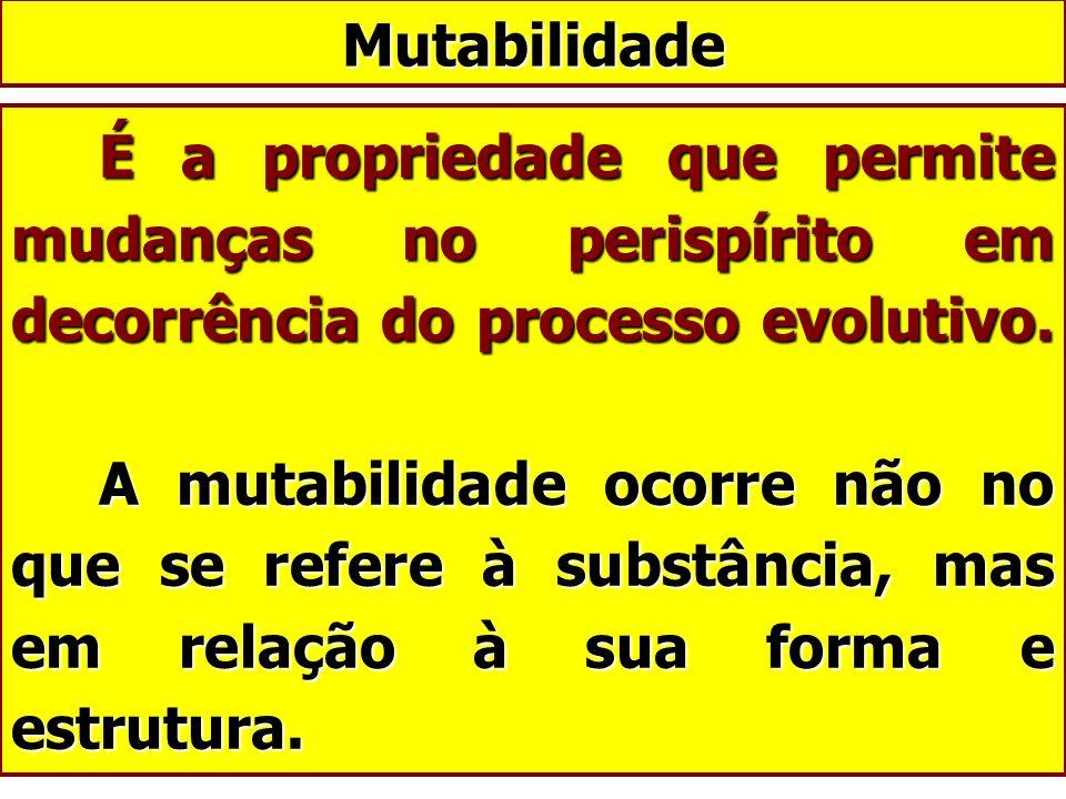 É a propriedade que permite mudanças no perispírito em decorrência do processo evolutivo. A mutabilidade ocorre não no que se refere à substância, mas