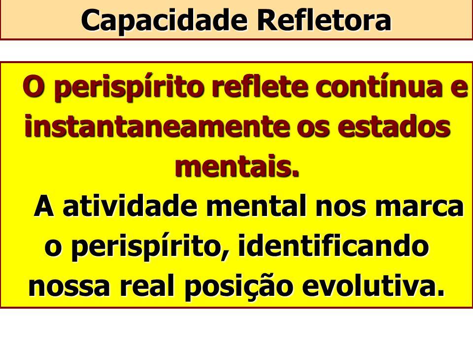O perispírito reflete contínua e instantaneamente os estados mentais. A atividade mental nos marca o perispírito, identificando nossa real posição evo