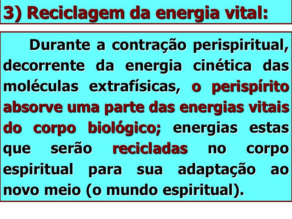 3) Reciclagem da energia vital: Durante a contração perispiritual, decorrente da energia cinética das moléculas extrafísicas, o perispírito absorve um