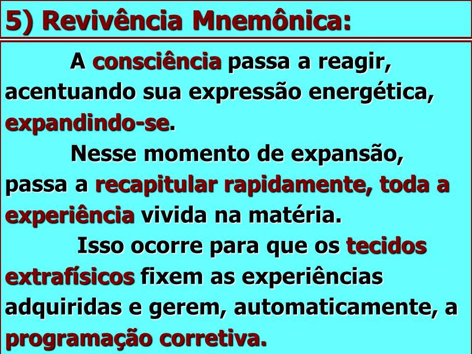 5) Revivência Mnemônica: A consciência passa a reagir, acentuando sua expressão energética, expandindo-se. Nesse momento de expansão, passa a recapitu