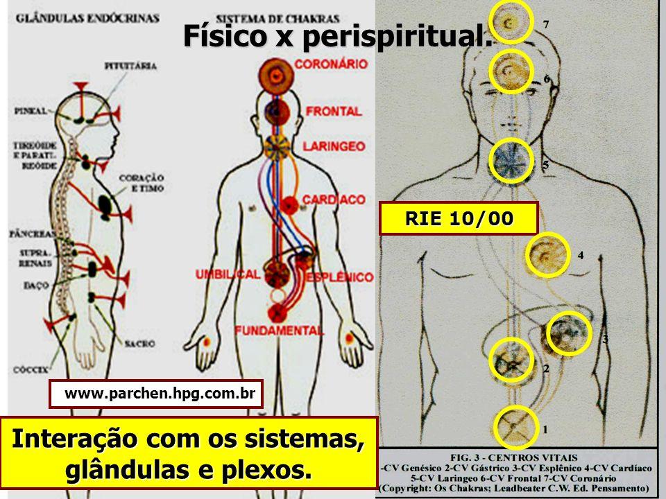 RIE 10/00 Interação com os sistemas, glândulas e plexos. Físico x perispiritual. www.parchen.hpg.com.br