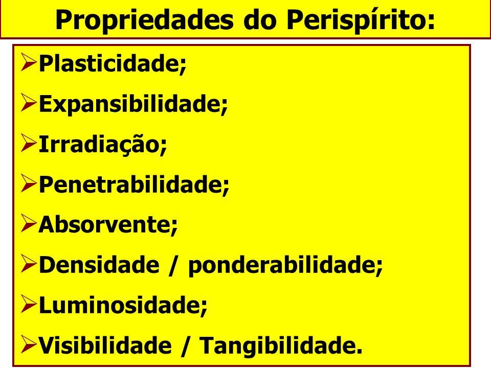 Propriedades do Perispírito: Plasticidade; Expansibilidade; Irradiação; Penetrabilidade; Absorvente; Densidade / ponderabilidade; Luminosidade; Visibi