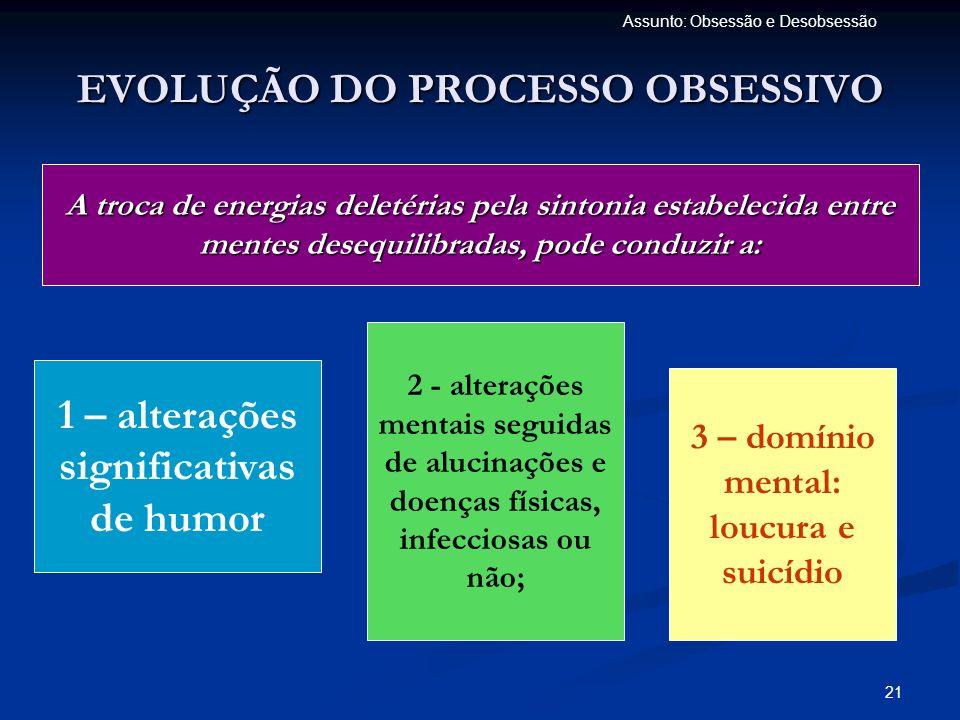 21 Assunto: Obsessão e Desobsessão EVOLUÇÃO DO PROCESSO OBSESSIVO A troca de energias deletérias pela sintonia estabelecida entre mentes desequilibrad
