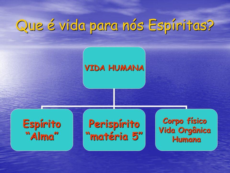 Que é vida para nós Espíritas? VIDA HUMANA EspíritoAlmaPerispírito matéria 5 Corpo físico Vida Orgânica Humana