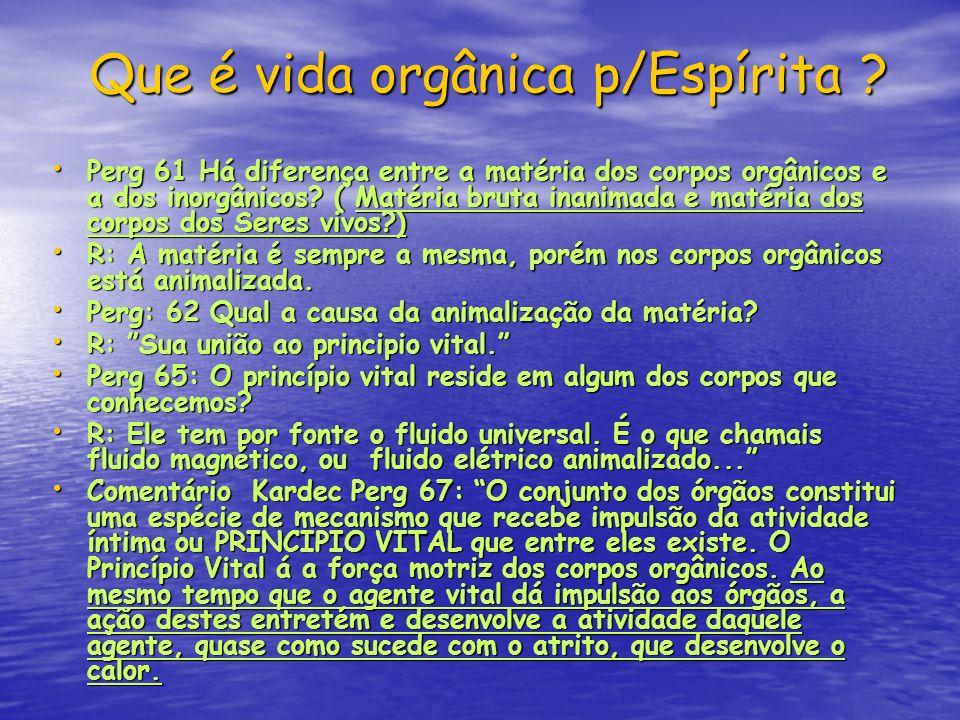 Que é vida orgânica p/Espírita ? Que é vida orgânica p/Espírita ? Perg 61 Há diferença entre a matéria dos corpos orgânicos e a dos inorgânicos? ( Mat