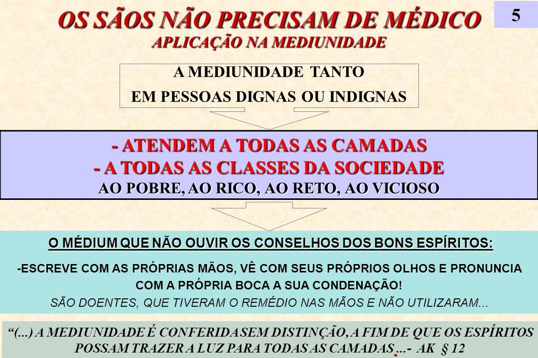 OS SÃOS NÃO PRECISAM DE MÉDICO APLICAÇÃO NA MEDIUNIDADE 5 (...) A MEDIUNIDADE É CONFERIDA SEM DISTINÇÃO, A FIM DE QUE OS ESPÍRITOS POSSAM TRAZER A LUZ