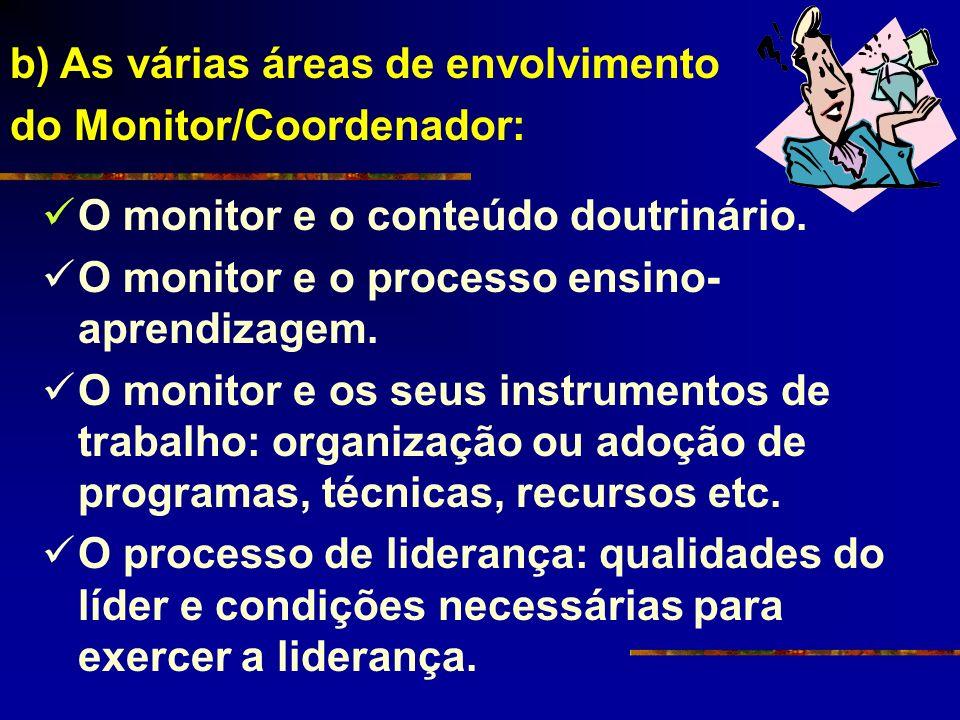 O monitor e o conteúdo doutrinário. O monitor e o processo ensino- aprendizagem. O monitor e os seus instrumentos de trabalho: organização ou adoção d
