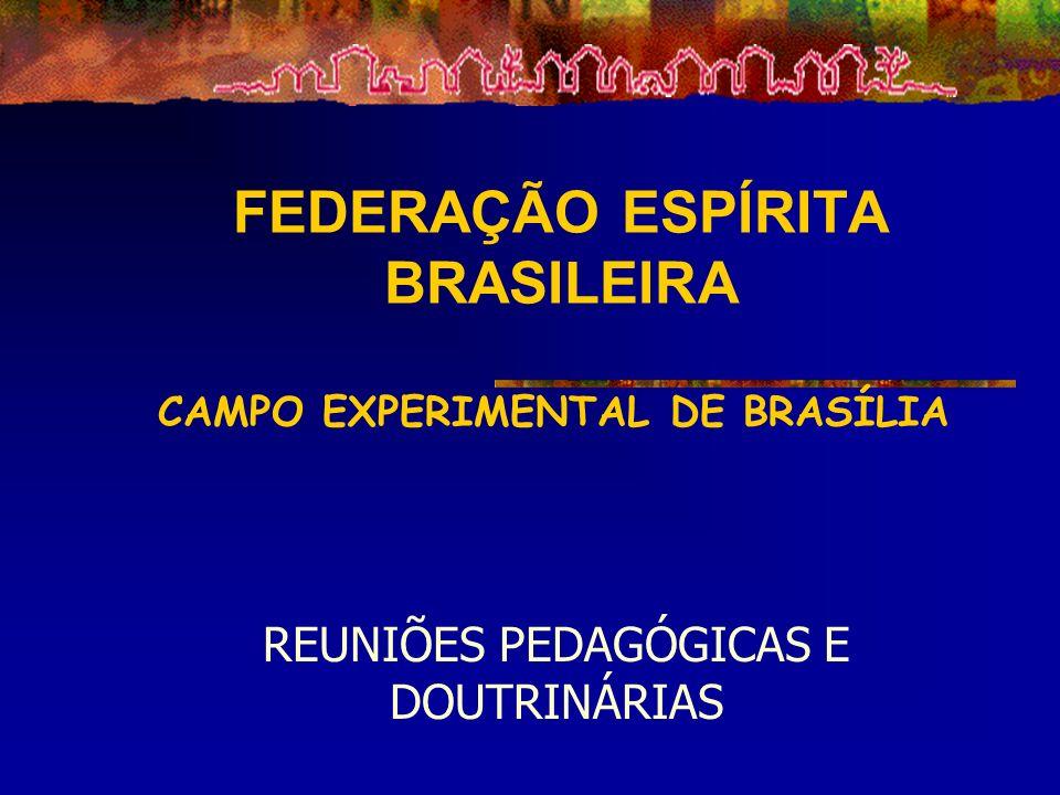 FEDERAÇÃO ESPÍRITA BRASILEIRA CAMPO EXPERIMENTAL DE BRASÍLIA REUNIÕES PEDAGÓGICAS E DOUTRINÁRIAS