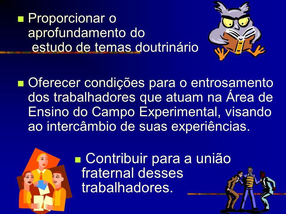 Proporcionar o aprofundamento do estudo de temas doutrinário Oferecer condições para o entrosamento dos trabalhadores que atuam na Área de Ensino do C