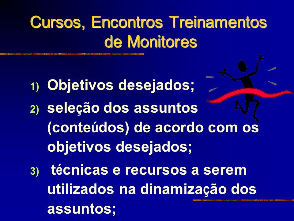 Cursos, Encontros Treinamentos de Monitores 1) Objetivos desejados; 2) sele ç ão dos assuntos (conte ú dos) de acordo com os objetivos desejados; 3) t