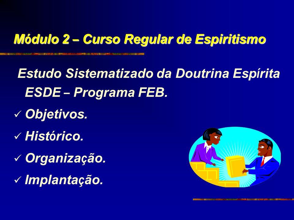 M ó dulo 2 – Curso Regular de Espiritismo Estudo Sistematizado da Doutrina Esp í rita ESDE – Programa FEB. Objetivos. Hist ó rico. Organiza ç ão. Impl