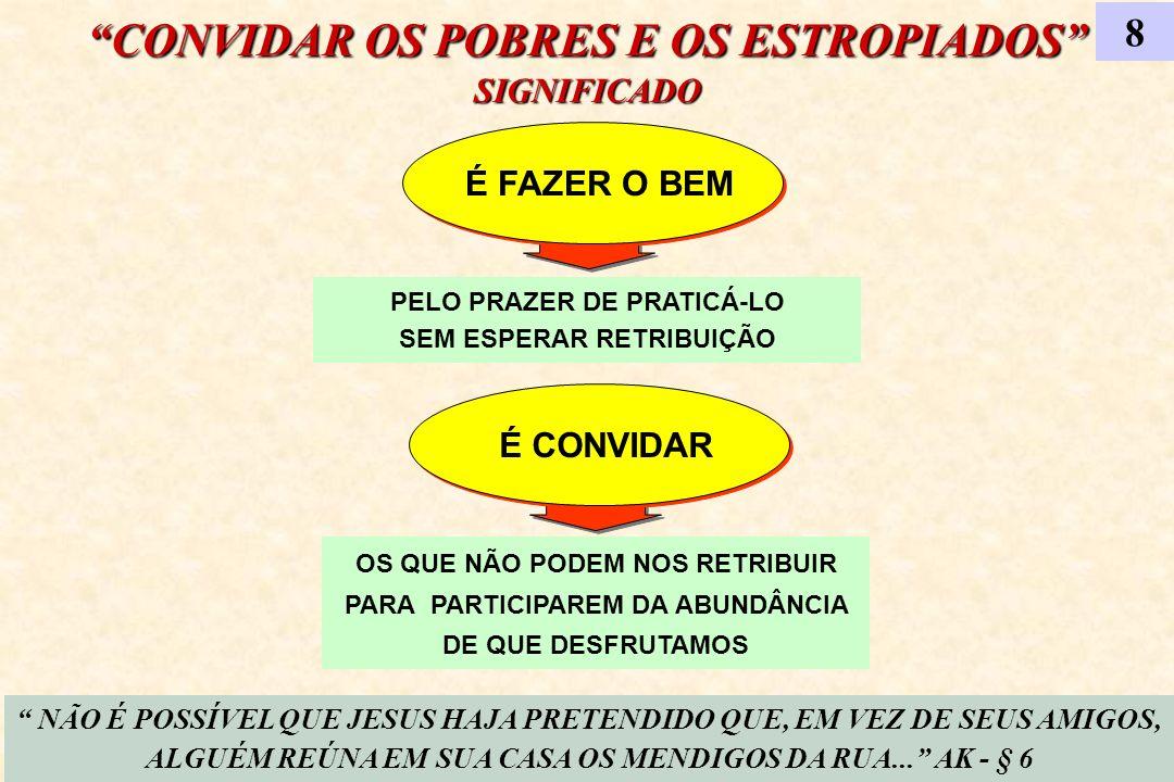 CONVIDAR OS POBRES E OS ESTROPIADOS SIGNIFICADO 8 É FAZER O BEM NÃO É POSSÍVEL QUE JESUS HAJA PRETENDIDO QUE, EM VEZ DE SEUS AMIGOS, ALGUÉM REÚNA EM S
