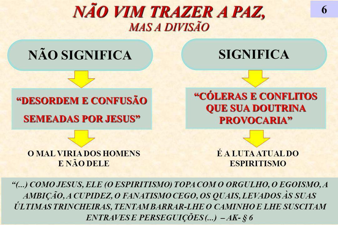 NÃO VIM TRAZER A PAZ, MAS A DIVISÃO NÃO SIGNIFICA DESORDEM E CONFUSÃO SEMEADAS POR JESUS 6 (...) COMO JESUS, ELE (O ESPIRITISMO) TOPA COM O ORGULHO, O EGOISMO, A AMBIÇÃO, A CUPIDEZ, O FANATISMO CEGO, OS QUAIS, LEVADOS ÀS SUAS ÚLTIMAS TRINCHEIRAS, TENTAM BARRAR-LHE O CAMINHO E LHE SUSCITAM ENTRAVES E PERSEGUIÇÕES (...) – AK- § 6 SIGNIFICA CÓLERAS E CONFLITOS QUE SUA DOUTRINA PROVOCARIA O MAL VIRIA DOS HOMENS E NÃO DELE É A LUTA ATUAL DO ESPIRITISMO