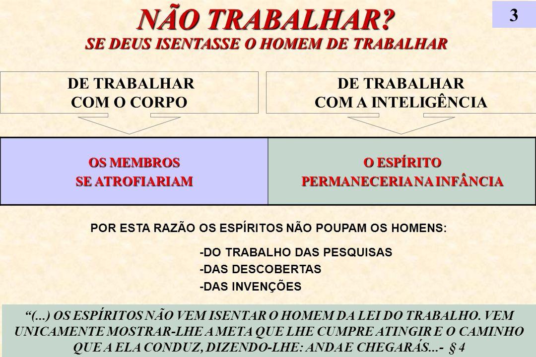 NÃO TRABALHAR? SE DEUS ISENTASSE O HOMEM DE TRABALHAR 3 (...) OS ESPÍRITOS NÃO VEM ISENTAR O HOMEM DA LEI DO TRABALHO. VEM UNICAMENTE MOSTRAR-LHE A ME