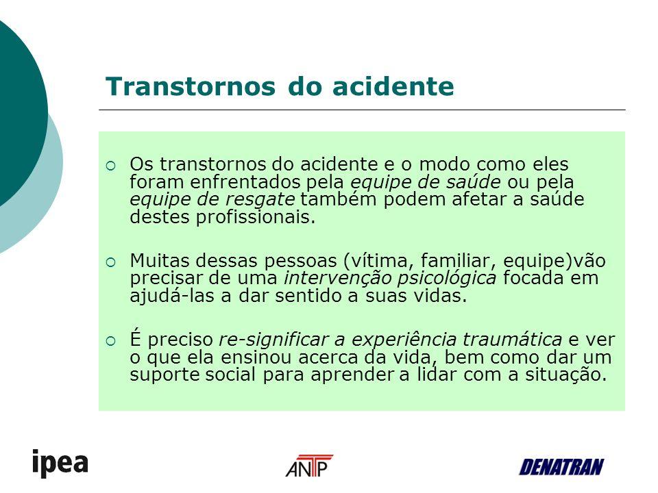 Transtornos do acidente Os transtornos do acidente e o modo como eles foram enfrentados pela equipe de saúde ou pela equipe de resgate também podem af