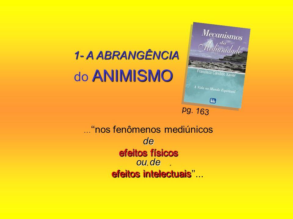 ANIMISMO do ANIMISMO... nos fenômenos mediúnicosde efeitos físicos ou de. efeitos intelectuais efeitos intelectuais... pg. 163 1- A ABRANGÊNCIA efeito