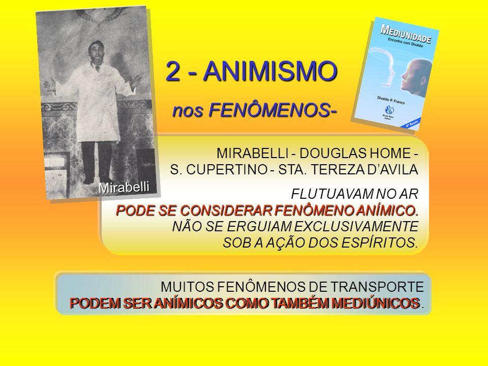 2 - ANIMISMO nos FENÔMENOS- nos FENÔMENOS- MIRABELLI - DOUGLAS HOME - S. CUPERTINO - STA. TEREZA DAVILA FLUTUAVAM NO AR PODE SE CONSIDERAR FENÔMENO AN