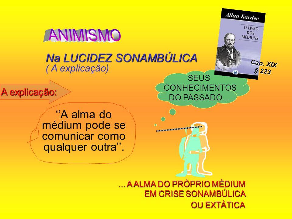 A alma do médium pode se comunicar como qualquer outra. Na LUCIDEZ SONAMBÚLICA Na LUCIDEZ SONAMBÚLICA ( A explicação) SEUS CONHECIMENTOS DO PASSADO...