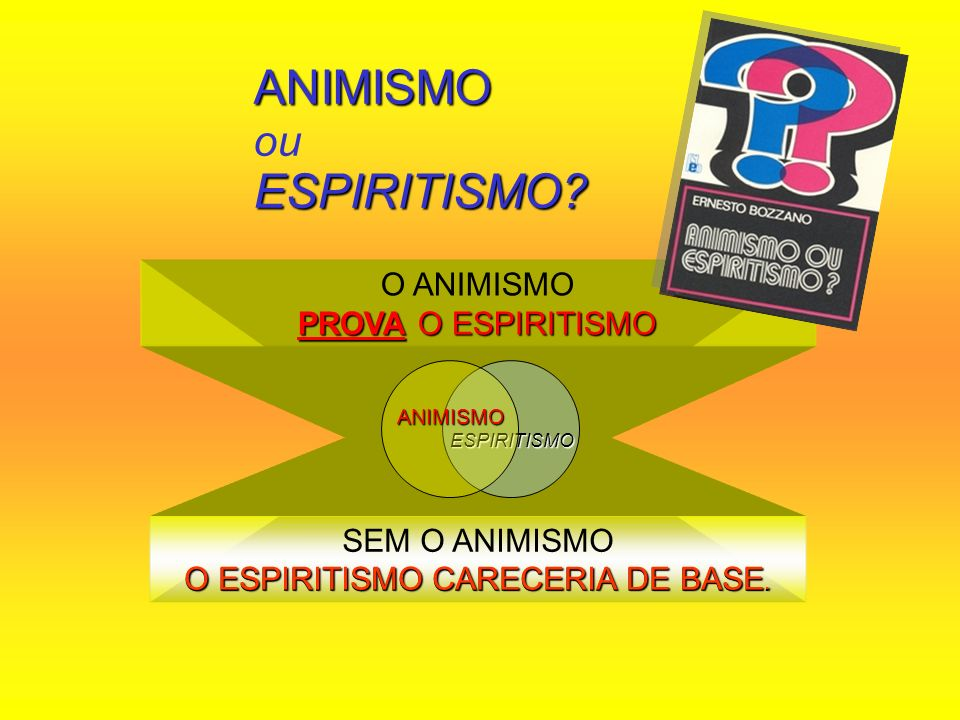 PROVA O ESPIRITISMO O ANIMISMO PROVA O ESPIRITISMO SEM O ANIMISMO O ESPIRITISMO CARECERIA DE BASE. ANIMISMO ESPIRITISMO? ANIMISMO ou ESPIRITISMO? ESPI